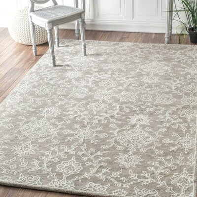 Giverny Hand-Tufted Beige Area Rug Rug Size: Rectangle 76 x 96