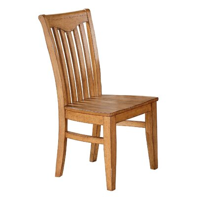 Plessis Yoke Back Solid Wood Dining Chair (Set of 2) Chair Finish: Light Oak