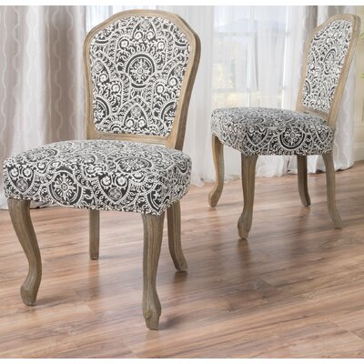 Oller Dining Chair Upholstery: Black/White