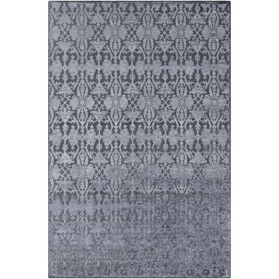 Rockland Hand-Knotted Medium Gray Area Rug Rug Size: 9 x 13