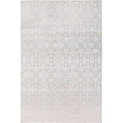 Rockland Hand-Knotted Khaki/White Area Rug Rug Size: Rectangle 6 x 9