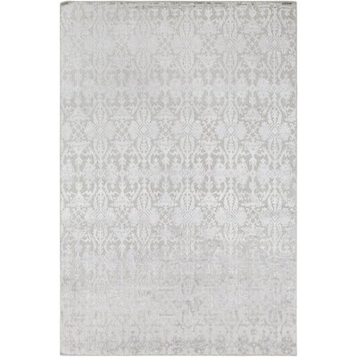 Rockland Hand-Knotted Light Gray Area Rug Rug Size: 9 x 13