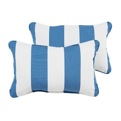 Elston Indoor/Outdoor Sunbrella Lumbar Pillow Color: Blue/White