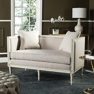 Ashbaugh Settee Upholstery: Taupe, Finish: Rustic Oak