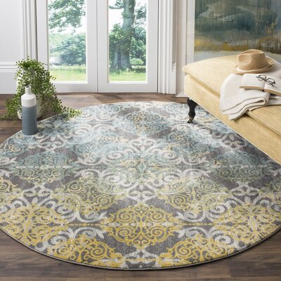 Jean Gray/Ivory Area Rug Rug Size: Round 67
