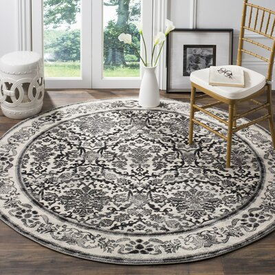 Jean Ivory/Black Area Rug Rug Size: Rectangle 9 x 12, Color: Ivory/Grey