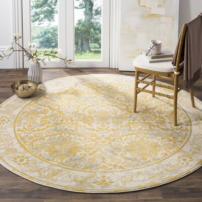 Jean Ivory/Gold Area Rug Rug Size: Round 67