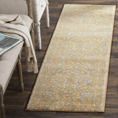 Jean Ivory/Gold Area Rug Rug Size: Runner 22 x 7