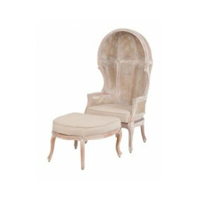 Cape Elizabeth King Rattan Balloon Chair and Ottoman Finish: White Wash