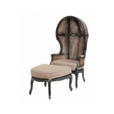 Cape Elizabeth King Rattan Balloon Chair and Ottoman Finish: Boir of Black/Woodlands Stain