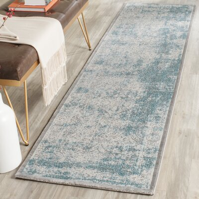 Auguste Turquoise/Ivory Area Rug Rug Size: Runner 22 x 10
