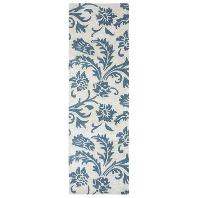 Ostrander Hand-Tufted Blue/Beige Area Rug Rug Size: Runner 26 x 10