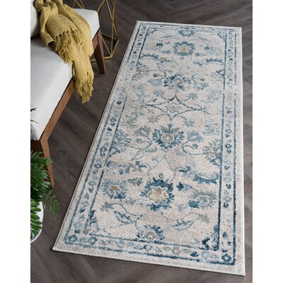 Ostro Traditional Cream Area Rug Rug Size: Runner 27 x 73