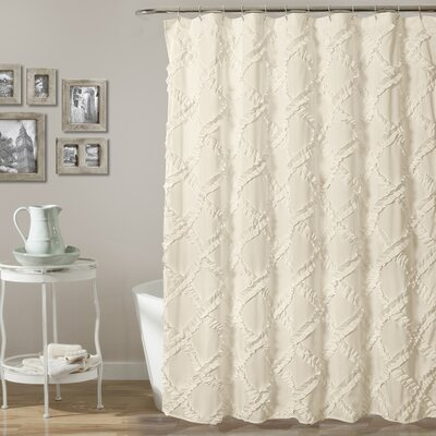 Carli Shower Curtain Color: Ivory