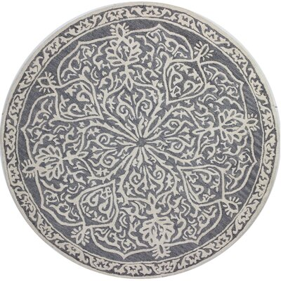 Provost Hand-Tufted Grey Area Rug Rug Size: Round 6