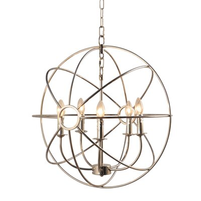 Padilla 5-Light Candle-Style Chandelier Finish: Nickel Plated