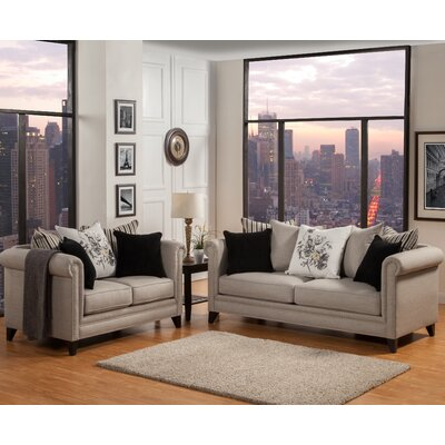 Talmont Tufted Sofa and Loveseat Set Upholstery: Mink Taupe