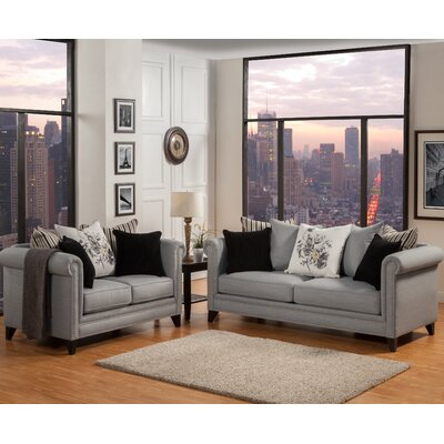 Talmont Tufted Sofa and Loveseat Set Upholstery: Steel Gray