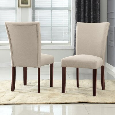 Plott Side Chair Upholstery: Beige, Finish: Espresso