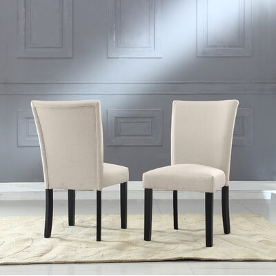 Plott Side Chair Upholstery: Beige, Finish: Black