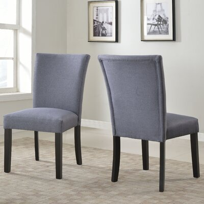 Plott Side Chair Upholstery: Grey, Finish: Black
