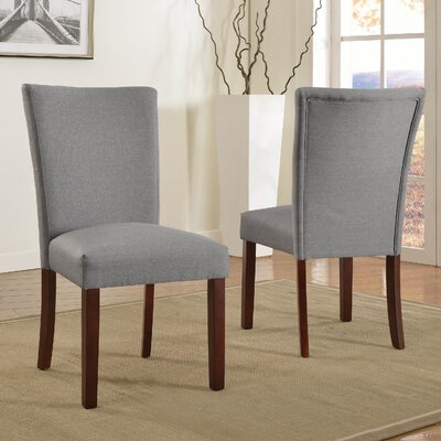 Plott Side Chair Upholstery: Light Grey, Finish: Espresso