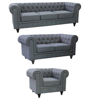 Plowman Chesterfield 3 Piece Grace Linen Living Room Set Upholstery: Gray
