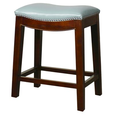 Laniel 24.5 Bar Stool Finish: Mystique Gray, Upholstery: Brown