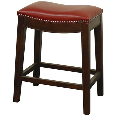 Laniel 24.5 Bar Stool Finish: Brown, Upholstery: Red