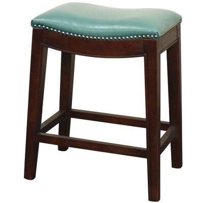 Laniel 24.5 Bar Stool Finish: Brown, Upholstery: Turquoise