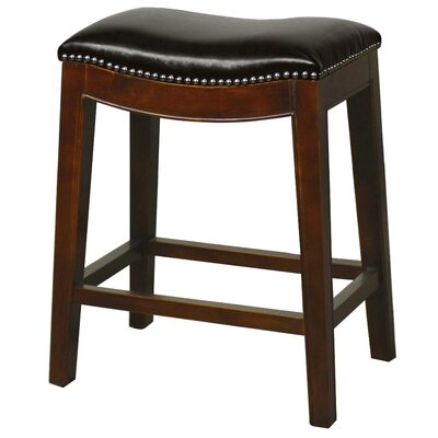 Plumley 25 inch Bar Stool Finish: Brown, Upholstery: Black