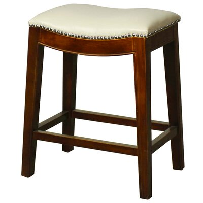 Laniel 24.5 Bar Stool Finish: Brown, Upholstery: Ivory