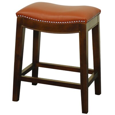Plumley 25 Bar Stool Finish: Brown, Upholstery: Pumpkin