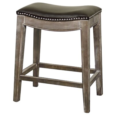 Laniel 25 Bar Stool Finish: Mystique Gray, Upholstery: Brown