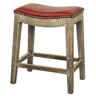 Plumley 25 inch Bar Stool Upholstery: Red, Finish: Mystique Gray