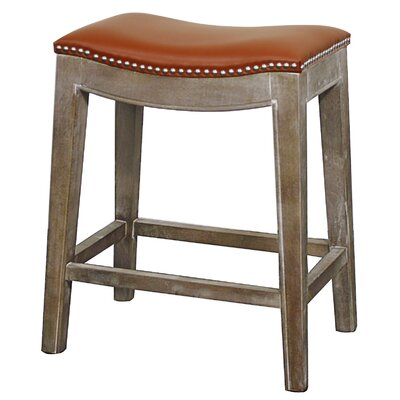 Laniel 25 Bar Stool Finish: Mystique Gray, Upholstery: Pumpkin
