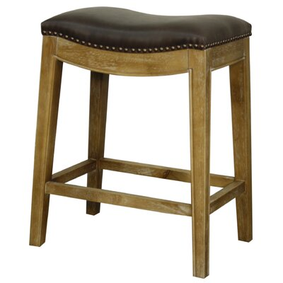 Plumley 25 Bar Stool Finish: Smoked, Upholstery: Vintage Dark Brown