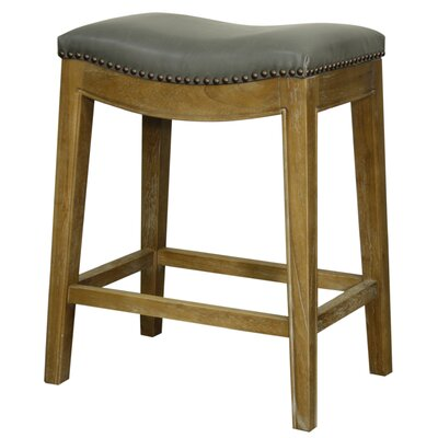 Laniel 25 Bar Stool Finish: Smoked, Upholstery: Vintage Grey