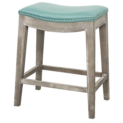 Plumley 25 Bar Stool Upholstery: Turquoise, Finish: Mystique Gray