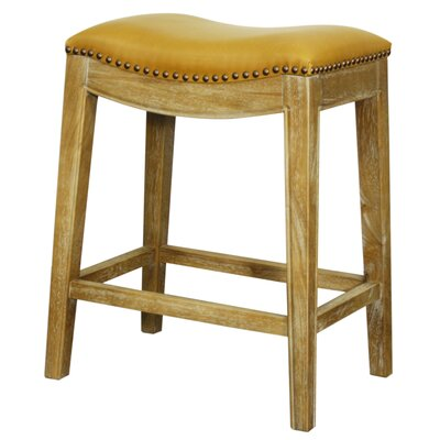 Plumley 25 inch Bar Stool Finish: Smoked, Upholstery: Vintage Caramel