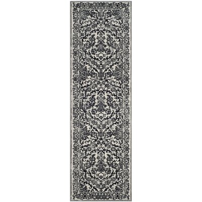Jean Ivory/Black Area Rug Rug Size: Runner 22 x 15, Color: Ivory/Black