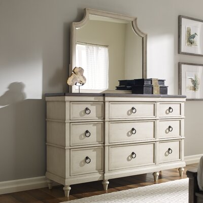 9 Drawer Wood Dresser with Mirror