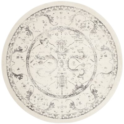Porcello Ivory/Light Gray Area Rug Rug Size: Round 67