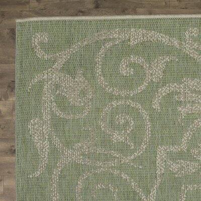 Arnegard Ivory/Light Green Indoor/Outdoor Area Rug Rug Size: 53 x 76