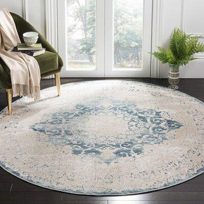 Prager Blue/Beige Area Rug Rug Size: Round 67 x 67
