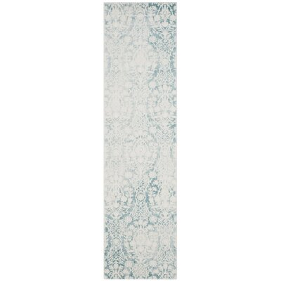 Auguste Turquoise/Ivory Area Rug Rug Size: Runner 22 x 8