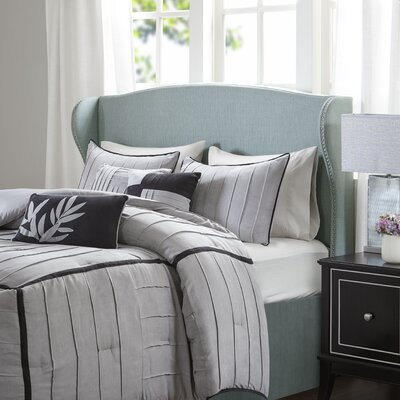 Patchell Upholstered Wingback Headboard Size: Queen, Color: Light Blue