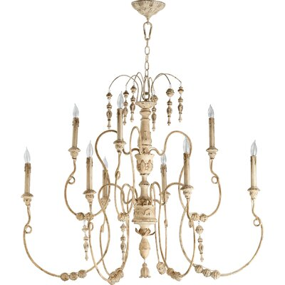 Paladino 9-Light Candle-Style Chandelier Finish: Persian White