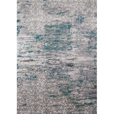 Aminata Distressed Pattern Blue/Gray Area Rug Rug Size: 53 x 77