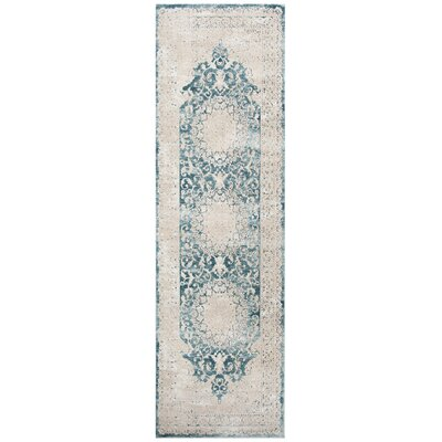 Prager Blue/Beige Area Rug Rug Size: Rectangle 3 x 10